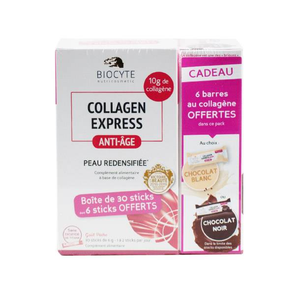 Biocyte Collagen Express Anti-Age 30 sticks + Barres Collagen Express Chocolat Noir ou Blanc 6 unités Offertes