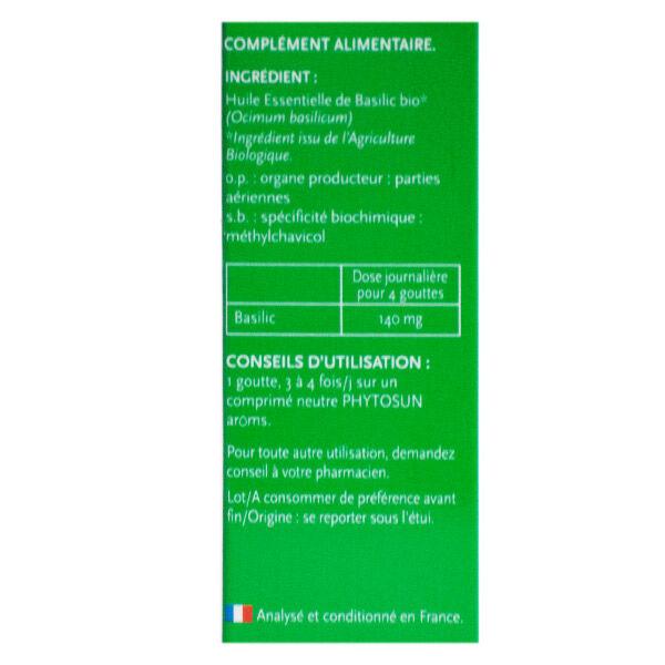 Phytosun Aroms Huile Essentielle Basilic 10ml Bio