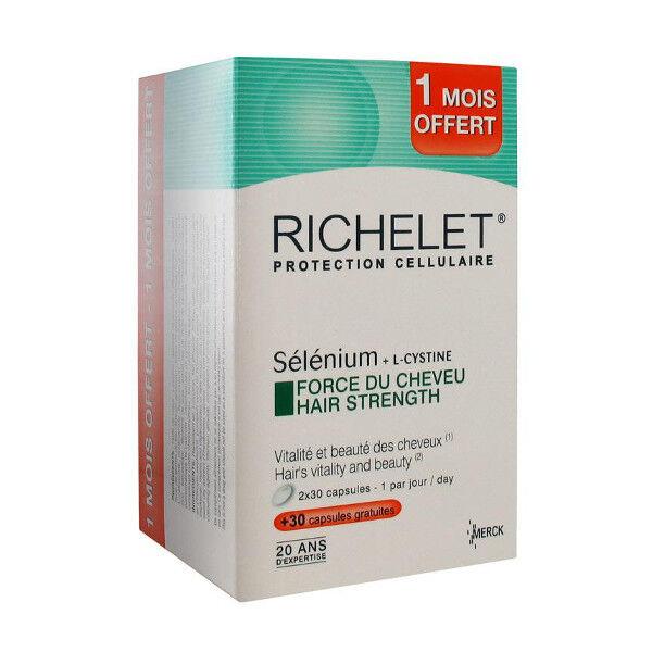 Merck Monot Richelet Sélénium Anti-Age Cheveux 60 capsules + 1 mois offert PROMO