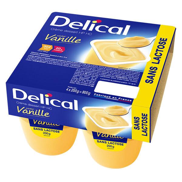 Delical Crème Dessert HP HC sans Lactose Vanille 4 x 200g
