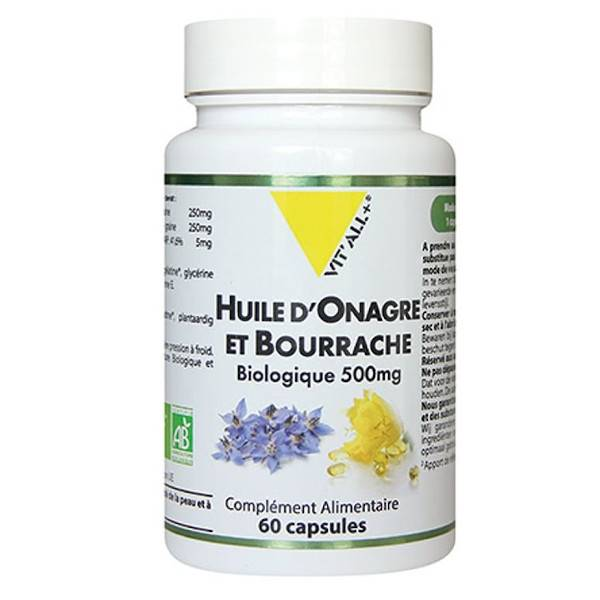 Vit'all+ Onagre et Bourrache Bio 500mg 60 capsules