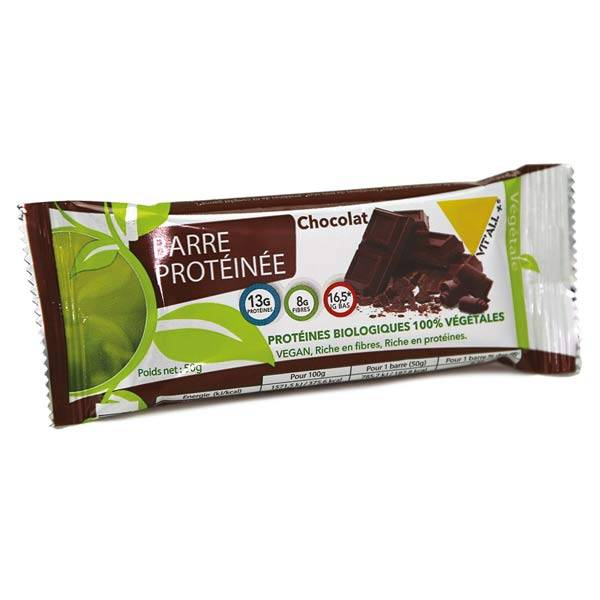 Vit'all+ Barre Protéinée Végan Chocolat Bio 50g