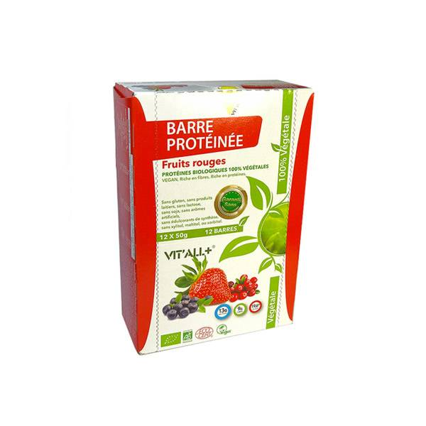 Vit'all+ Barre Protéinée Végan Bio Fruits Rouges 50g