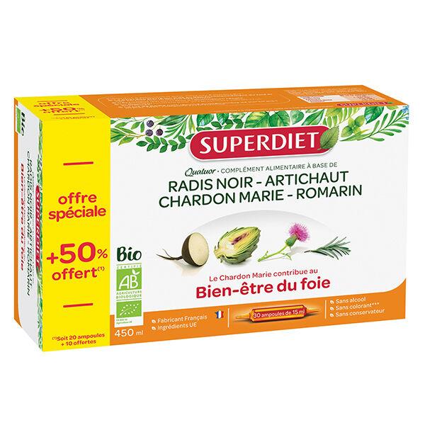 Superdiet Quatuor Bien-Etre du Foie Bio 20 ampoules + 10 Offertes