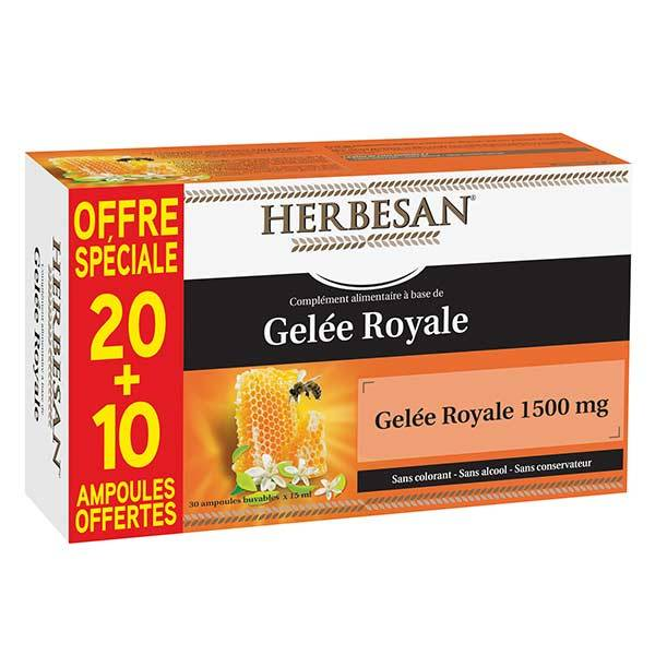 Herbesan Gelée Royale 1500mg 20 + 10 ampoules offertes