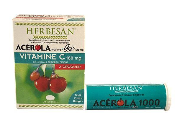 Herbesan Acérola 1000 + Goji 30 comprimés à croquer