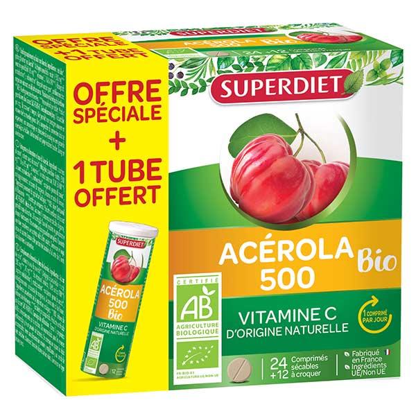 Superdiet Acérola Bio 500 24 comprimés + 12 comprimés offerts