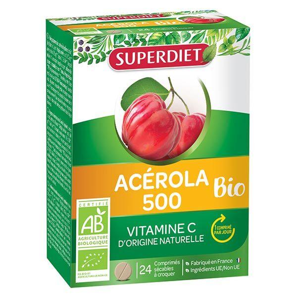 Superdiet Acérola 500 Bio 24 comprimés à croquer