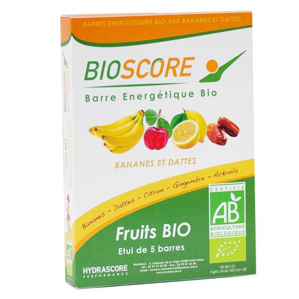 Hydrascore Performance Bioscore Barres Énergétiques Bio et Vegan Banane Dattes Citron Acérola 5 barres