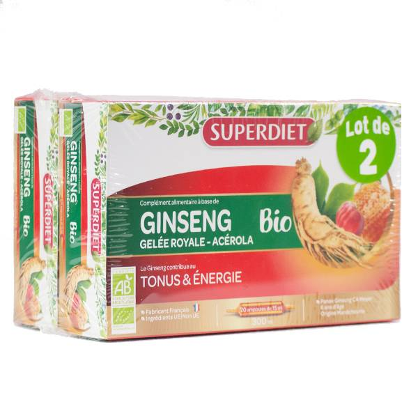 Super Diet Ginseng Gelée Royale Acérola Bio Lot de 2 x 20 ampoules de 15ml
