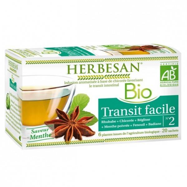 Herbesan Bio Infusion Transit Facile Saveur Menthe n°2 20 sachets