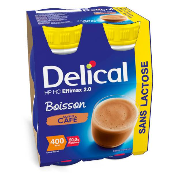 Delical Boisson HP HC Effimax 2.0 sans Lactose Café 4 x 200ml