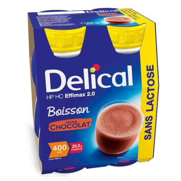 Delical Boisson HP HC Effimax 2.0 sans Lactose Chocolat 4 x 200ml