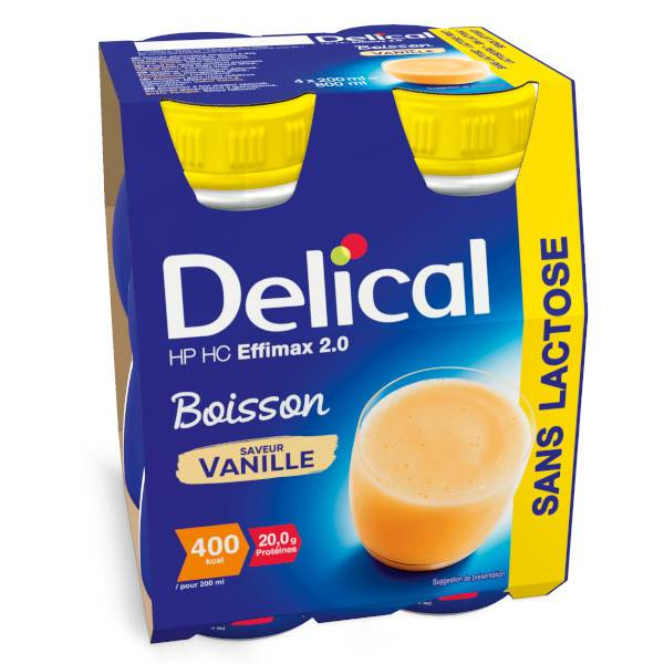 Delical Boisson HP HC Effimax 2.0 sans Lactose Vanille Lot de 4 x 200ml