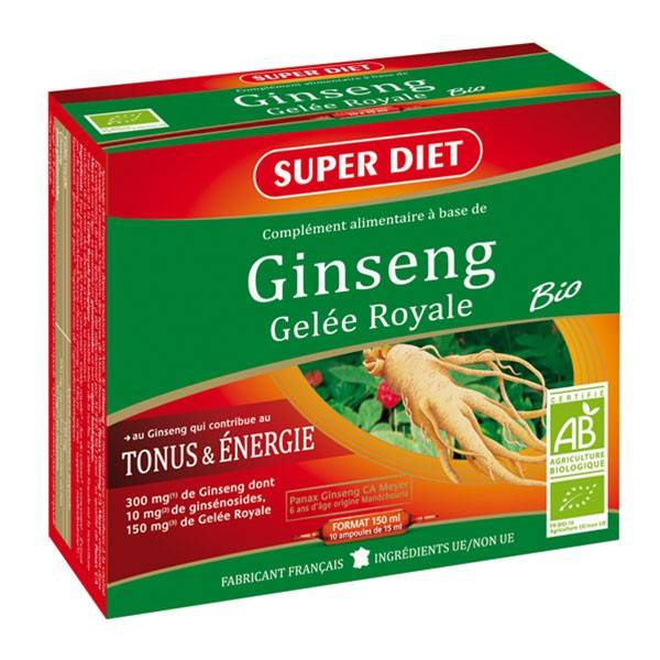 Super Diet Ginseng Gelée Royale Bio - 10 ampoules de 15ml