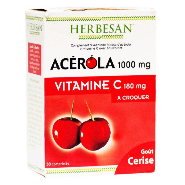 Herbesan Acérola 1000 et Vitamine C 180mg 30 comprimés à croquer