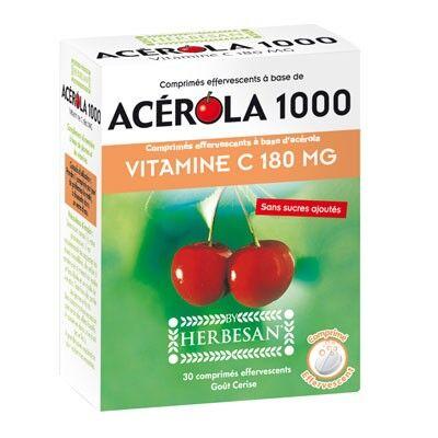 Herbesan Acérola 1000 et Vitamine C 180mg 30 comprimés effervescents