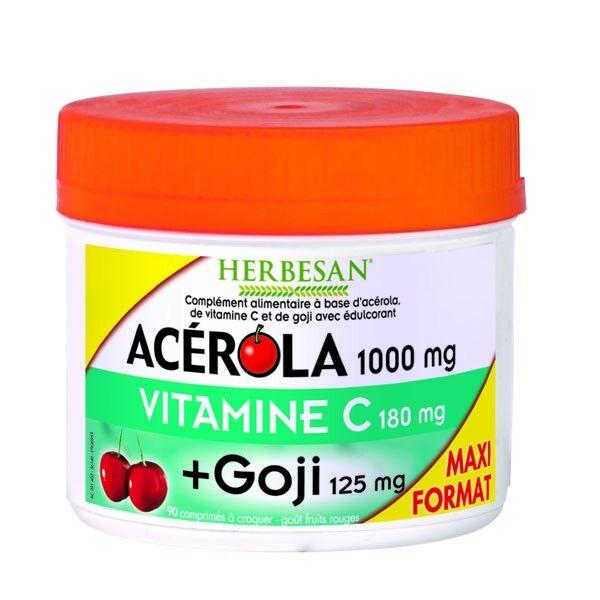 Herbesan Acérola 1000 + Goji Format Maxi 90 comprimés à croquer