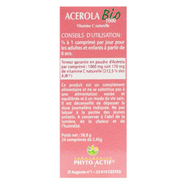Phyto-Actif Phytoactif Acérola 1000 Bio 24 comprimés