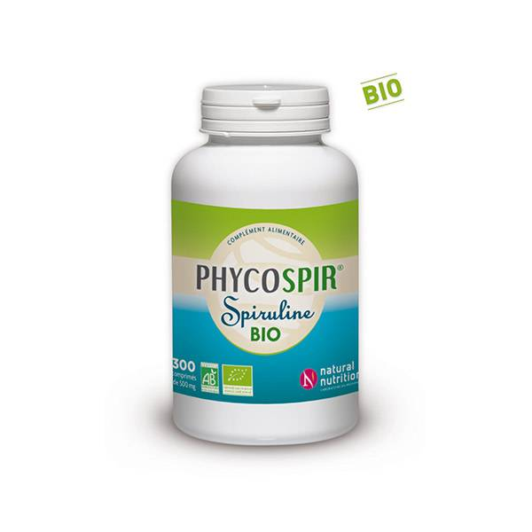 Natural Nutrition Spiruline Phycospir 500mg Bio 300 comprimés