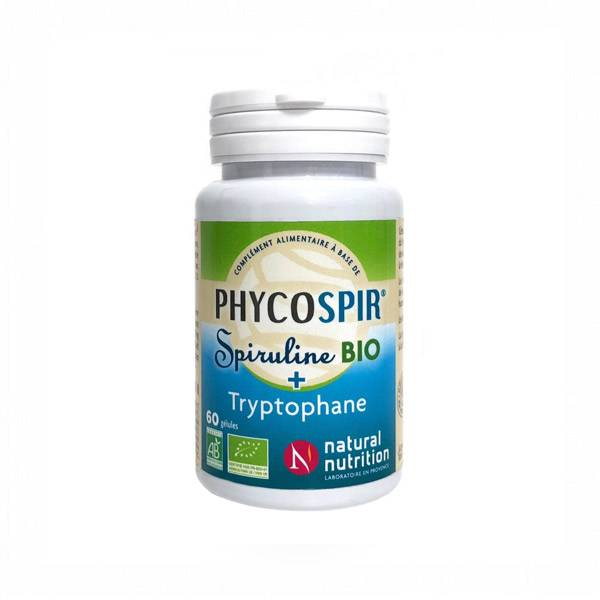 Natural Nutrition Spiruline Phycospir Bio + Tryptophane 60 gélules