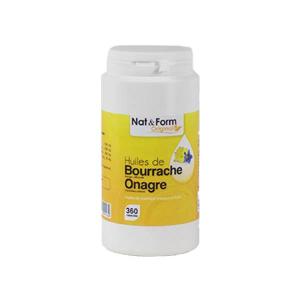 Nat & Form Original Huile Bourrache Onagre + Vit E 360 capsules