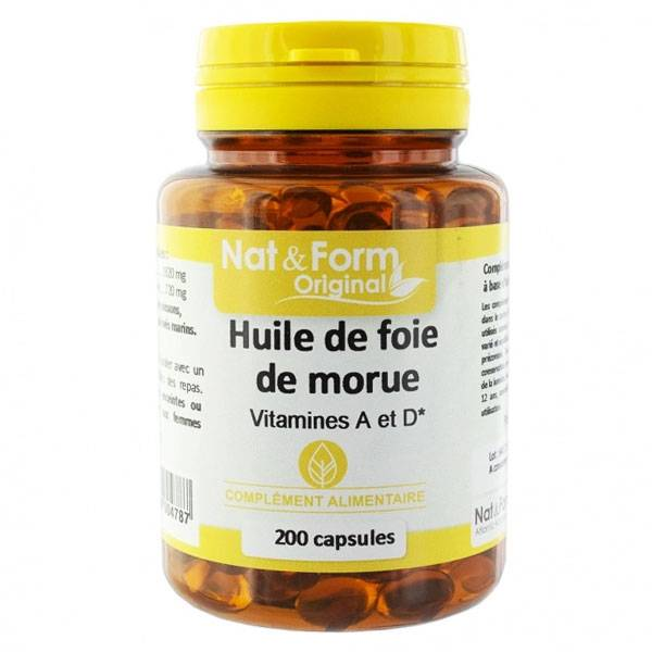 Nat & Form Original Huile de Foie de Morue 200 capsules