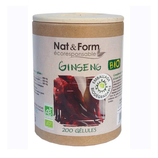 Nat & Form Eco Responsable Ginseng Rouge Bio 200 gélules