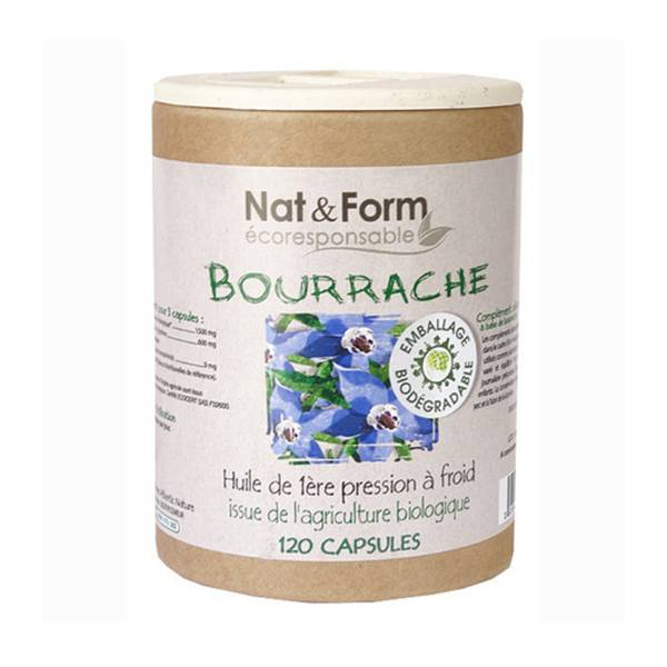 Nat & Form Eco Responsable Huile de Bourrache Bio + Vitamine E 120 capsules
