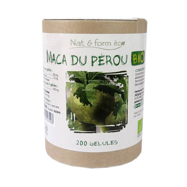 Nat & Form Eco Responsable Maca Bio 200 gélules