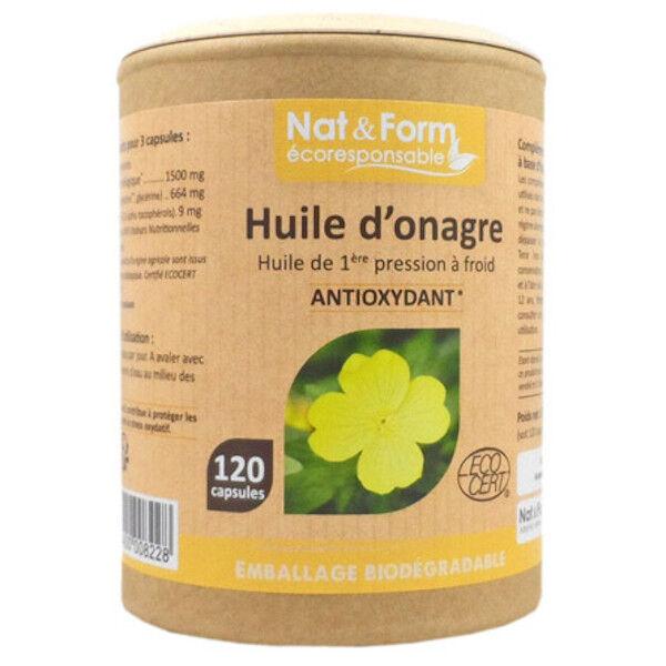 Nat & Form Eco Responsable Huile d'Onagre Bio + Vitamine E 120 capsules