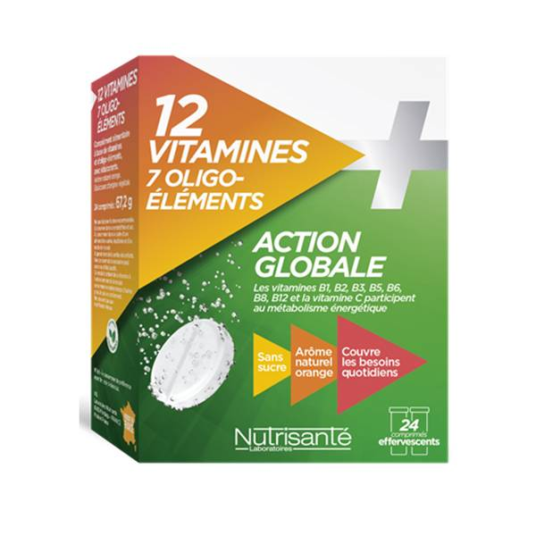 9922511 Nutrisanté 12 Vitamines + 7 Oligo-Elements 24 comprimés