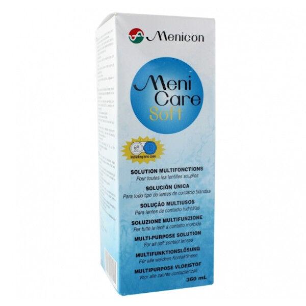 Menicon Europe Menicare Soft Solutions Multifonctions pour Lentilles Souples 360ml + Etui à Lentilles