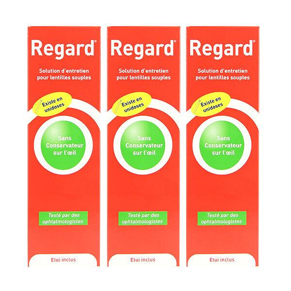 Horus Pharma Regard Solution d'Entretien pour Lentilles Souples Lot de 3 x 355ml + étui