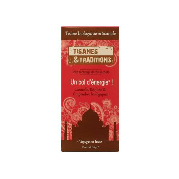 Tisanes & Traditions Un Bol d'Energie Boite Recharge 20 sachets