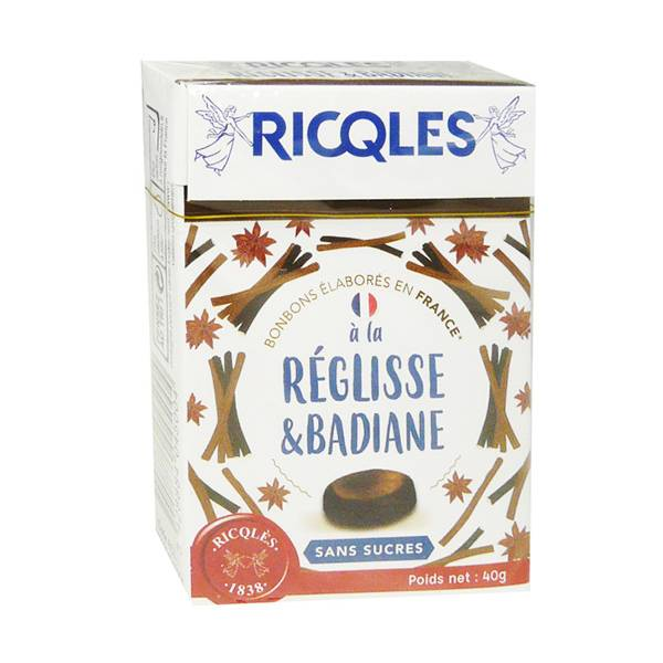 Ricqles Bonbons Réglisse Badiane sans Sucre 40g