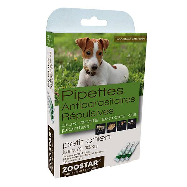 Zoostar Pipettes Antiparasitaires Répulsives Petit Chien 3 pipettes