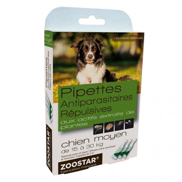 Zoostar Pipettes Antiparasitaires Répulsives Chien Moyen 3 pipettes