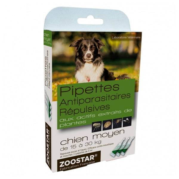 Zoostar Pipettes Antiparasitaires Répulsives Chien Moyen 3 pipettes