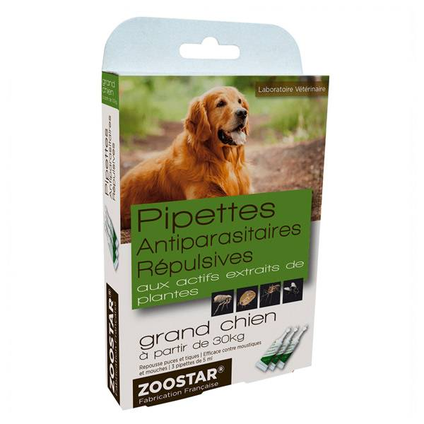 Zoostar Pipettes Antiparasitaires Répulsives Grand Chien 3 pipettes