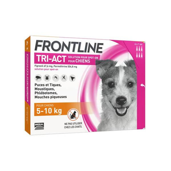 Frontline Tri-Act Chiens S 5-10 kg 6 Pipettes