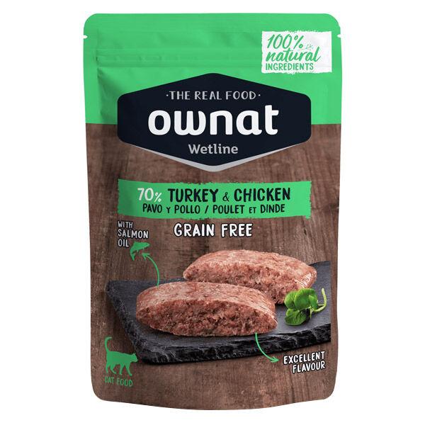 Ownat Grain Free Aliments Humides 70% Chat Dinde et Poulet Sachet 85gr