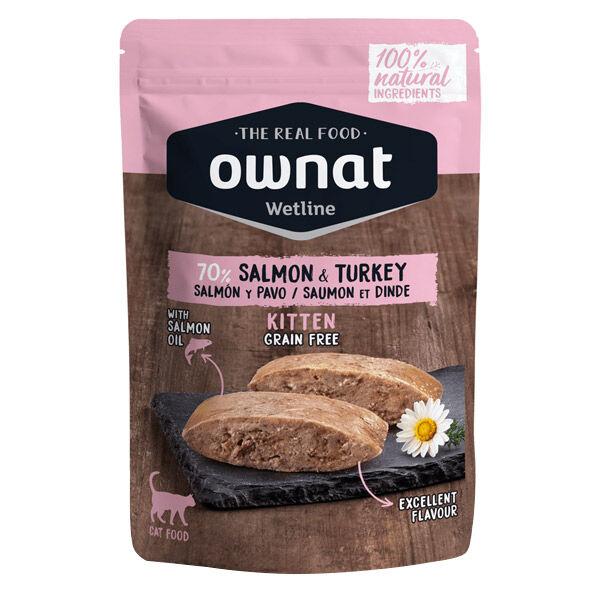 Ownat Grain Free Aliments Humides Chat 70% Saumon et Dinde Sachet 85gr