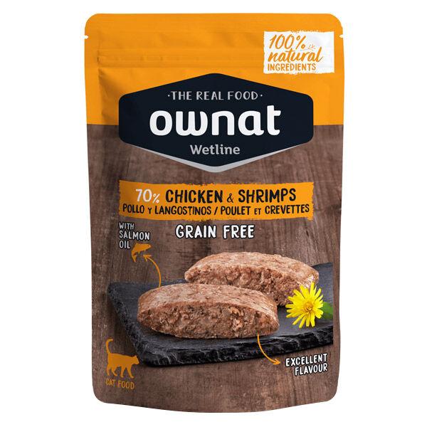Ownat Grain Free Aliments Humides Chat 70% Poulet et Crevettes Sachet 85gr