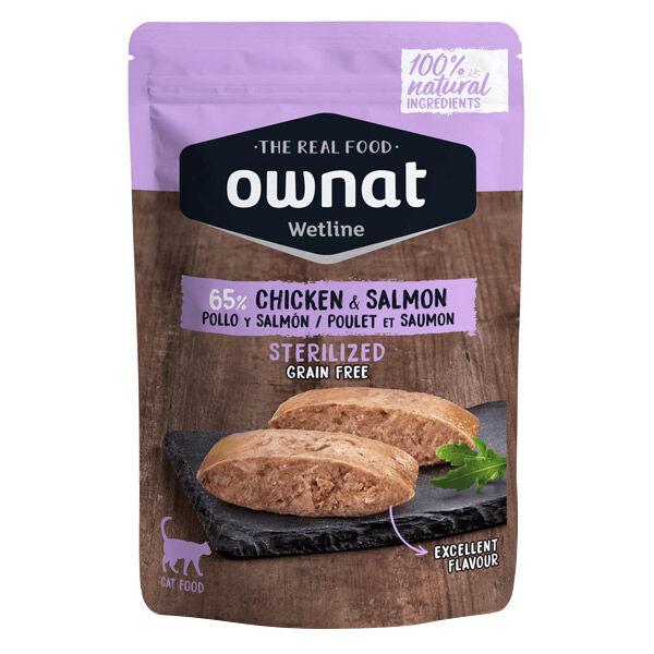 Ownat Grain Free Aliments Humides Chat Stérilisé 65% Poulet et Saumon Sachet 85gr