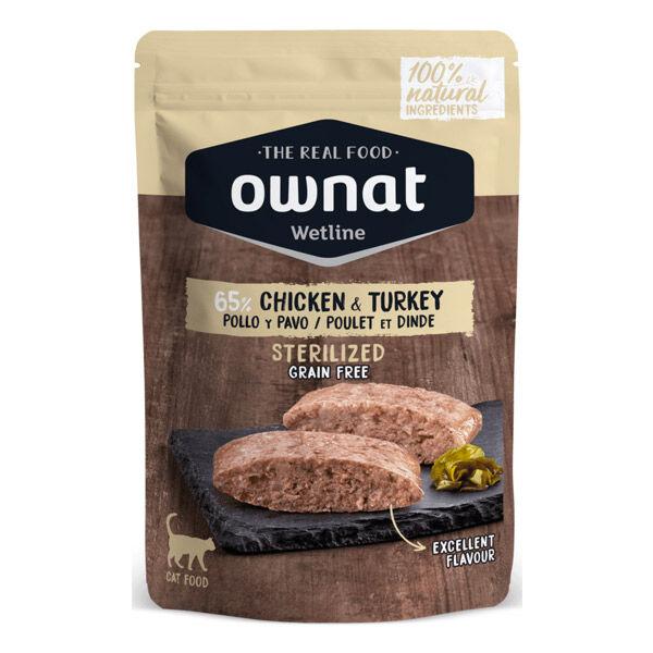 Ownat Grain Free Aliments Humides Chat Stérilisé 65% Poulet et Dinde Sachet 85gr