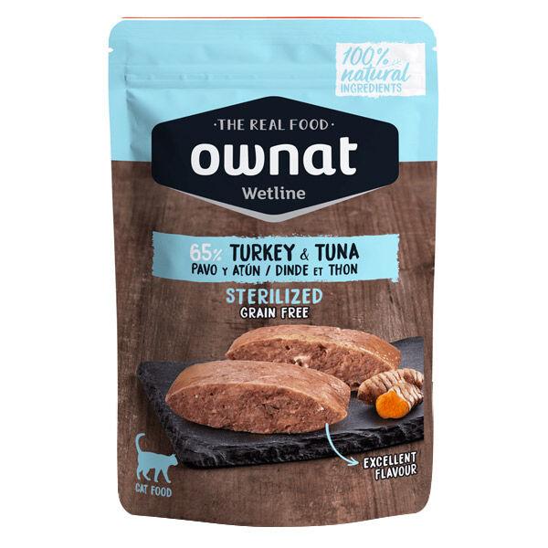 Ownat Grain Free Aliments Humides Chat Stérilisé 65% Dinde et Thon Sachet 85gr