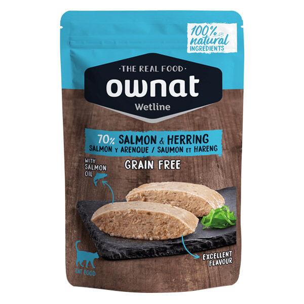 Ownat Grain Free Aliments Humides Chat 70% Saumon et Hareng Sachet 85gr