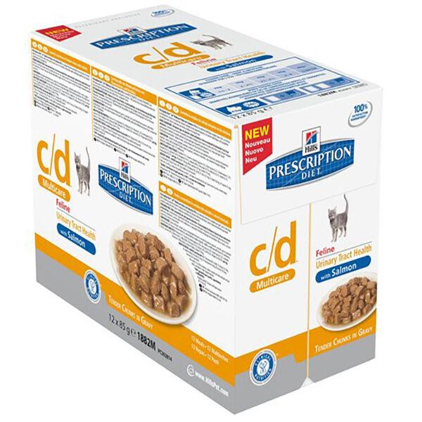 Hill's Prescription Diet Feline C/D Unirnary Care Aliment Humide Saumon 12 x 85g