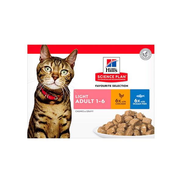 Hill's Science Plan Feline Light Adulte (chat 1 à 6 ans) Poulet Saumon sachet repas 12x85g